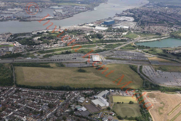 PIC SHOWS:- aerial views Eurostar facility at Ebbsfleet, kent, UK at Ebbsfleet