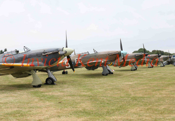 A lineup of Hawker Hurricanes stands ready at Biggin Hill, part of the 75 Anniversary of the Battle of Britain  Hardest Day