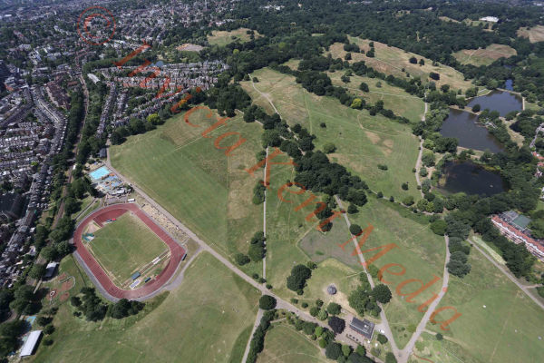 PIC SHOWS:- aerial views of Hampstead Heath