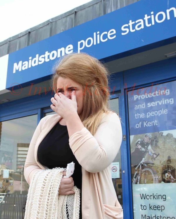 PICS SHOWS;Paris Brown youth crime commissioner Breaks down today outside maidstone police station,with Ann barnes Kent police crime commission  at Maidstone today
