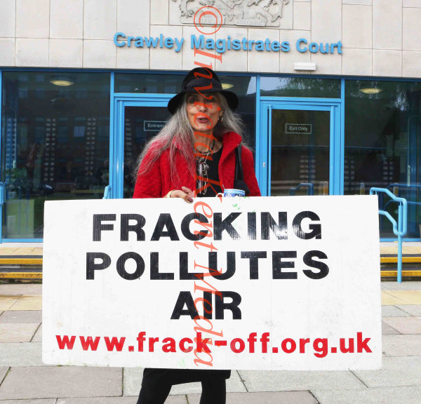 Fracking Demonstraters at Crawley Mags today 2/10/13 Pam Lucas Pensioner Model Outside Crawley Mags Court today to Show her support for trackers inside court