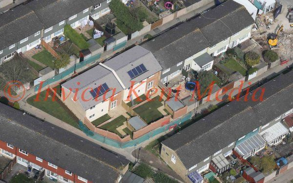 PICS SHOWS:-Aerial pics of New Houses Built on the Site Where Tia Sharp Was found Murdered in The Loft in New Addington Near Croydon. Two Houses Replace the Original Three.
