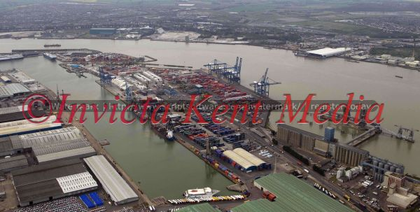 PIC SHOWS:- Aerial view of Tilbury Docks, Essex, UK