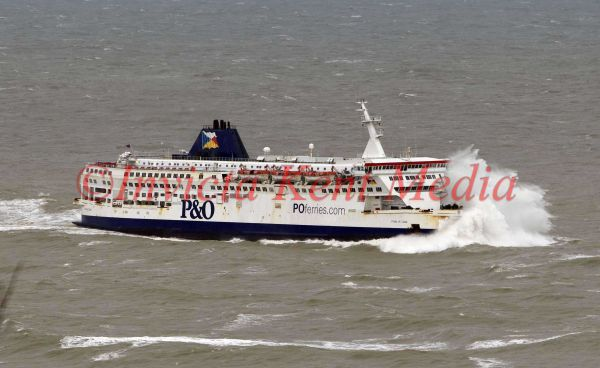 P&O ferries arrive at Dover, Kent, UK in bad weather.
