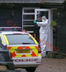 PICS SHOWS;HOUSE BELONGING TO PEACHES GELDORF HIGHWOOD IN WROTHAM  KENT. Police search team and Forensic team enter and search the grounds and the inside of the house with a Sniffer Dog and take away there findings.