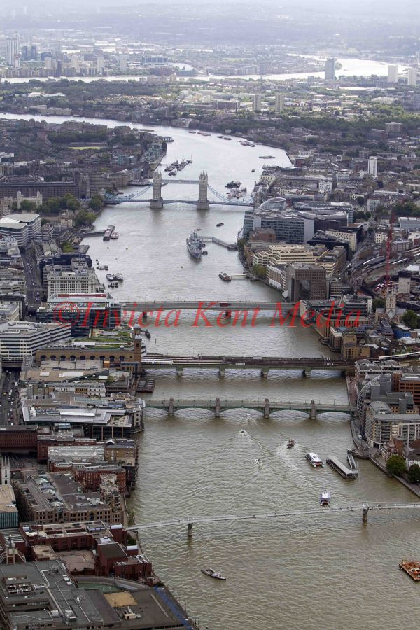 PIC SHOWS:-aerial shot of London, including the Thames, Tower Bridge