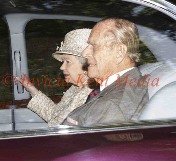 PICS SHOWS ; The Queen and Prince Phillip along With Prince Charles Attend Crathie Church Today at Balmoral Scotland. 6.9.15