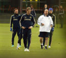 PICS SHOWS;Chelsea training today with Rafa Benitez getting very involved ,at the Cobham Traning Ground