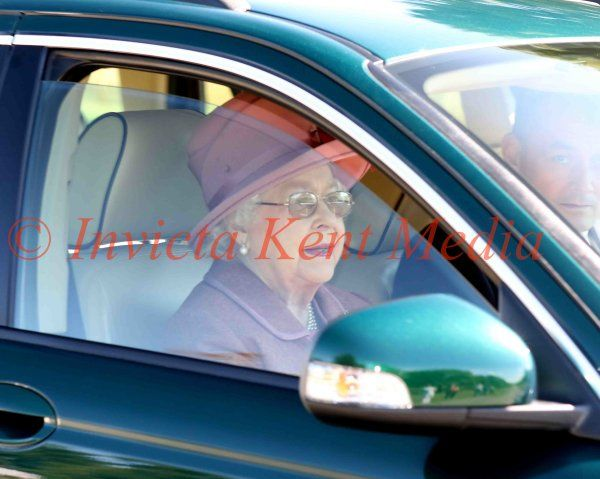 PICS SHOWS ; The Queen Leaves Windsor Castle driving down the long Walk to Attend Church Today near Royal Lodge in Windsor Great Park.