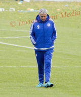 PICS SHOWS ;Jose Mourinho takes training today at Cobham Training Ground