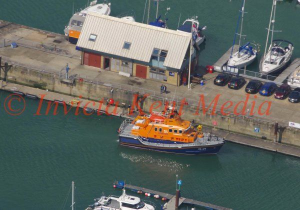 PIC SHOWS: Dover Lifeboat Towing in a Stricken Vessel From The Channel This Morning and Mooring at the Lifeboat Quay.