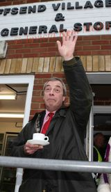 PICS SHOWS Nigel Farage of UKIP holds rally at Cliffsend Village Hall Near Ramsgate. 28.3.15