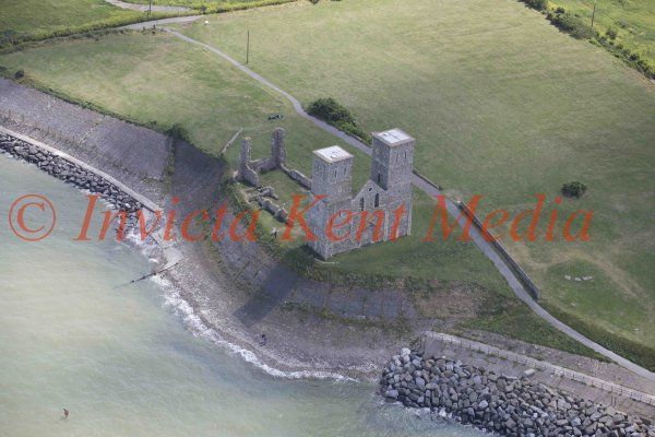 PIC SHOWS: Reculver Towers and roman fort. An imposing landmark, the twin 12th-century towers of the ruined church stand amid the remains of an important Roman 'Saxon Shore' fort and a Saxon monastery.  3.6.15