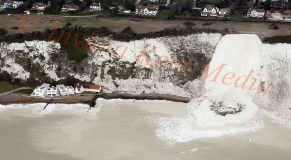 PICS SHOWS;Cliff fall at St Margarets Bay in Kent close to the House once owned by James Bond Writer Ian Fleming .