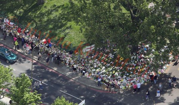 Flower tributes outside Woolwich Barracks in South London  for Drummer Lee Rigby.