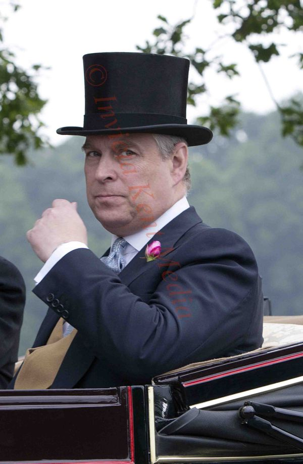PICS SHOWS;The Royal carriage procession on its way to Ascot Races.Prince Andrew