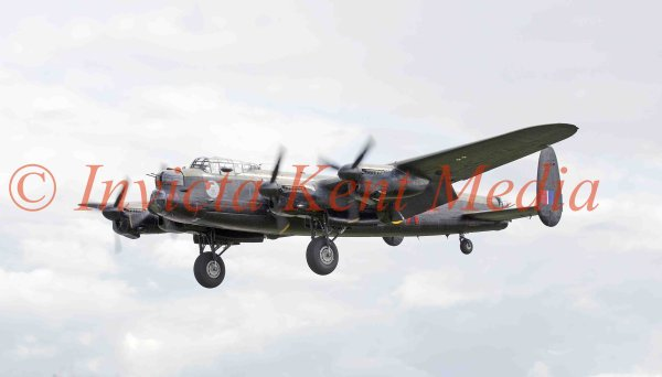 PICS SHOWS.; Avro Lancaster taking off from Biggin Hill. One of only two still airworthy. This one is over from Canada for a UK tour.