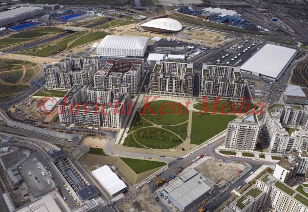 Aerial view of the athletes village on the Olympic site, London