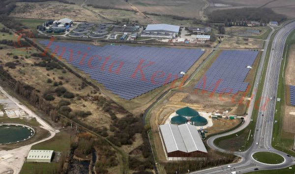 PIC SHOWS:-Aerial views of solar panels used by the Richborough sewage treatment plant, near Sandwich, Kent
