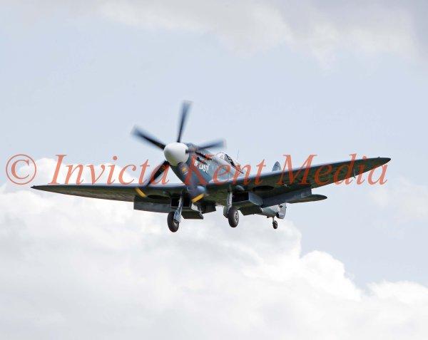 Spitfire PS915 (Mk PRXIX) from the Battle of Britain Memorial Flight, seen over Biggin Hill, Kent