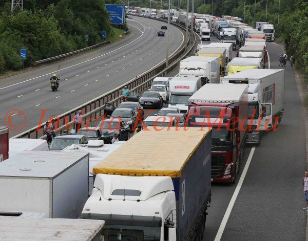 PICS SHOWS ; Operation Stack on The M20 .There are now ordinary people in the traffic jam between Junction 7 on the M20 to Junction 8.