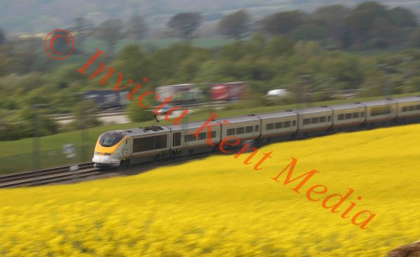 Eurostar and Class 395 Javelin trains on the HS1 route near Charing in Kent