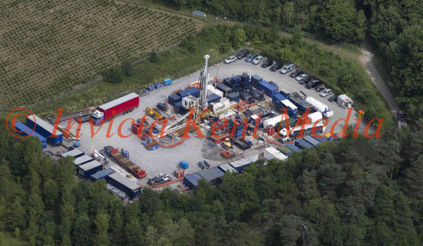 aerial pictures of the site nr Balcombe in Sussex where Quadrilla are looking to extract Gas By Fracking .