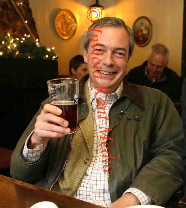 PICS SHOWS; Nigel Farage Leader of UKIP at his local pub The Blacksmiths Arms in Cudham Kent