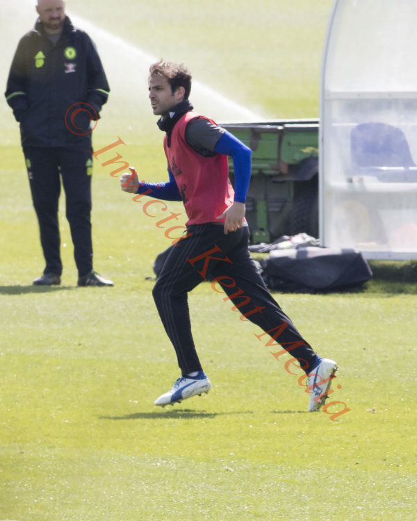 PICS SHOWS; Chelsea training ground Today;Cesc Fabregas goes thru a short training session. At Cobham today