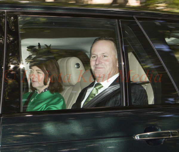 PICS SHOWS; Balmoral, Crathie Church. The Right Honourable John Key prime minister of New Zealandand his wife Bronagh at Crathie Church