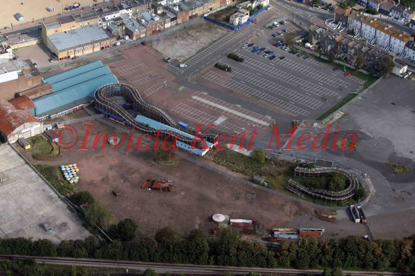 PIC SHOWS:- Aerial view of the remains of the wooden rollercoaster at Dreamland, Margate that still has a preservation order on it.