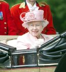 PICS SHOWS;The Royal carriage procession on its way to Ascot Races.The Queen.