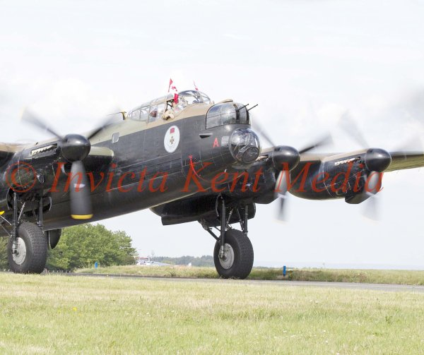 Avro Lancaster taking off from Biggin Hill. One of only two still airworthy. This one is over from Canada for a UK tour.