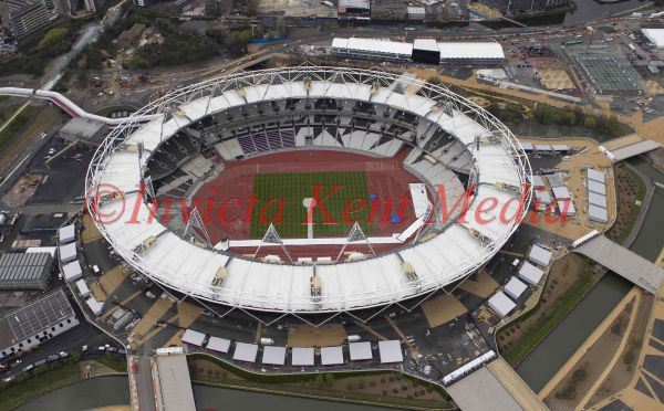 Aerial view of the Olympic stadium, London, UK