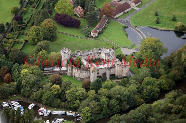 PIC SHOWS:- Aerial view of Allington Castle near Maidstone, Kent