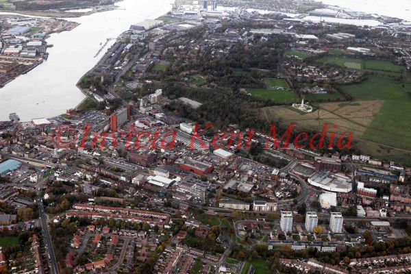 Pic shows:- aerial view of Chatham, Kent, with the Historic Dockyard in the background, all alongside the River Medway.