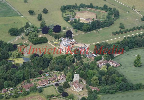 PIC SHOWS:- An aerial view of Chevening House, weekend residence of the Foreign Secretary, and the surrounding area, including Chevening Church.
