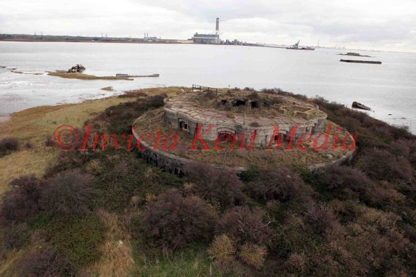 Pic shows:- aerial view of Hoo Napoleonic fort, Medway, Kent. 1870s gun fort, later used as an observation post in WW2.