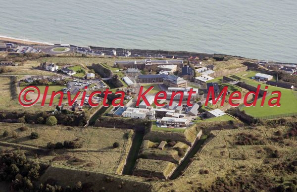 PIC SHOWS-aerial shot of Dover Immigration Removal Centre, Western Heights, Dover, Kent