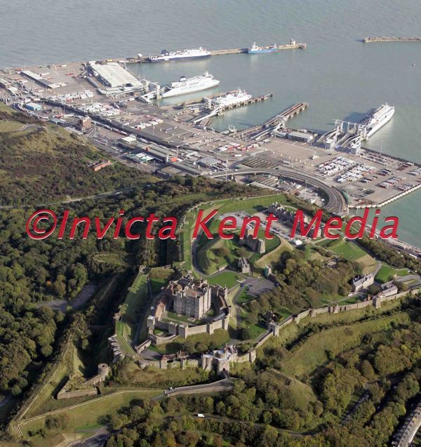 aerial pic of Dover Castle with Dover docks in the background