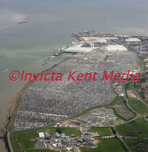 PIC SHOWS. aerial shots of Sheerness docks, main car importing site