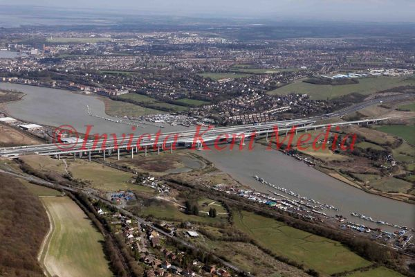 PIC SHOWS: AERIAL VIEW OF THE MEDWAY BRIDGE, KENT, CARRYING EUROSTAR LINE AND M2 MOTORWAY TO THE KENT COAST