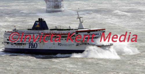 DOVER DOCKS TODAY FERRIES BATTLE THROUGH HIGH WINDS AT DOVER.