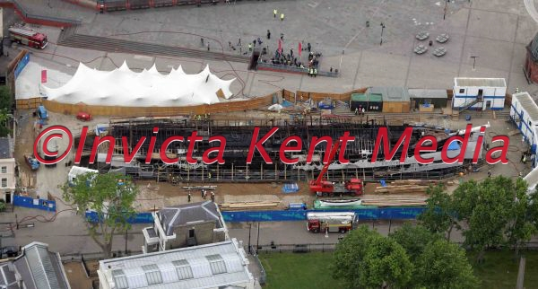 AERIAL PIC SHOWS CUTTY SARK AFTER THE FIRE