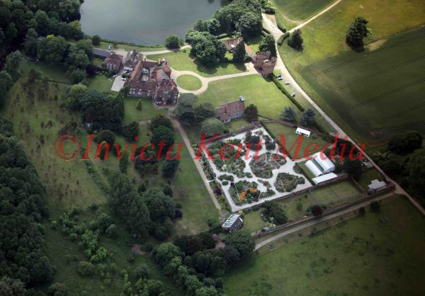 PIC SHOWS ;LULLINGSTONE CASTLE WITH THE EARTH GARDENS FROM THE AIR
