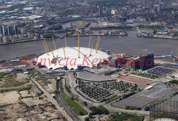 Aerial photo of the Millenium Dome, London, UK