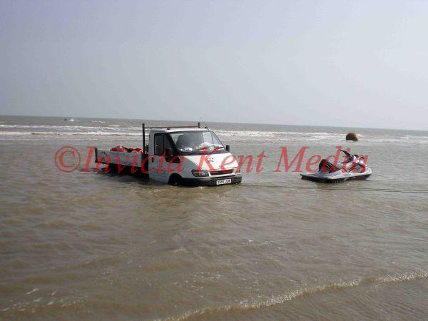 PIC SHOWS:-Ford Transit stuck on Dymchurch Beach, Kent