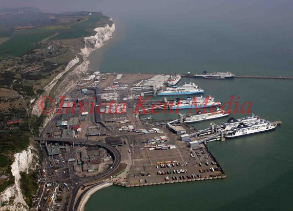 PIC SHOW;FRENCH FISHING DISPUTE;DOVER PORT WHICH EVERY BERTH IS FULL OF P&O FERRIES AND SEA FRANCE FROM THE AIR TODAY. THIS IS THE ONLY TIME ALL SHIPS HAVE BEEN IN PORT SINCE CHRISTMAS DAY. 15/04/2009