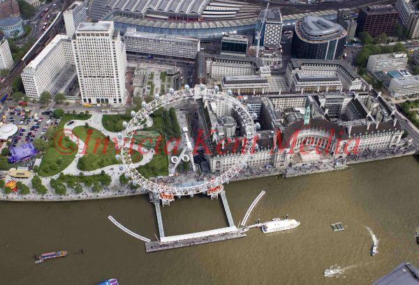 Aerial photo of the London Eye ferris wheel, London, UK