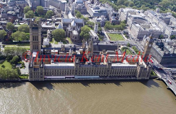 Aerial photo of The House of Parliament, London, UK